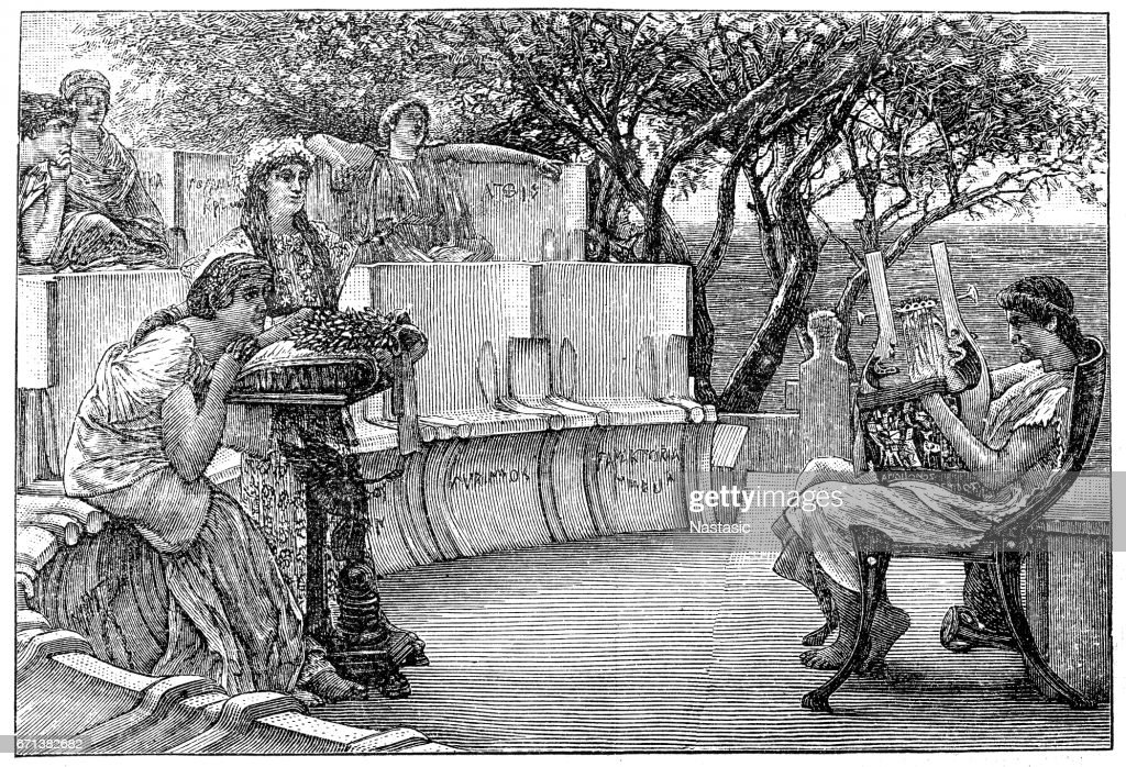 Sappho and her companions listening as the poet Alcaeus plays a kithara : stock illustration