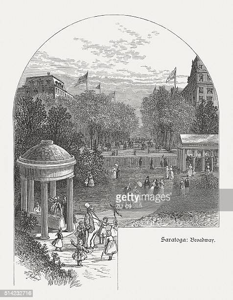 Saratoga Springs, New York, USA, wood engraving, published in 1880