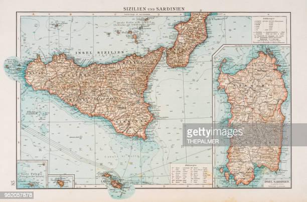 sardinia and sicily map 1896 - sicily stock illustrations, clip art, cartoons, & icons