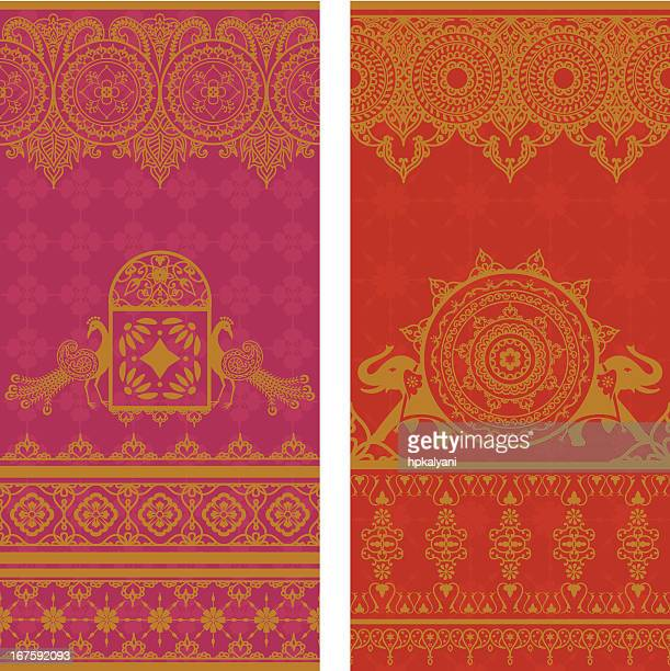 sari borders - sari stock illustrations