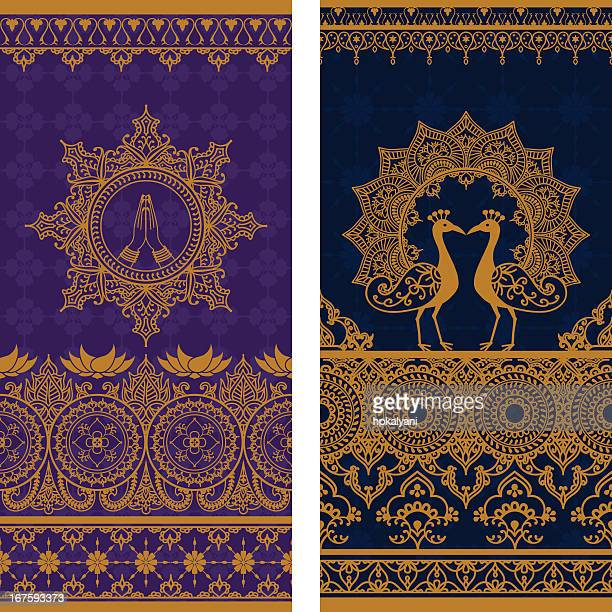 sari borders tall - traditional clothing stock illustrations