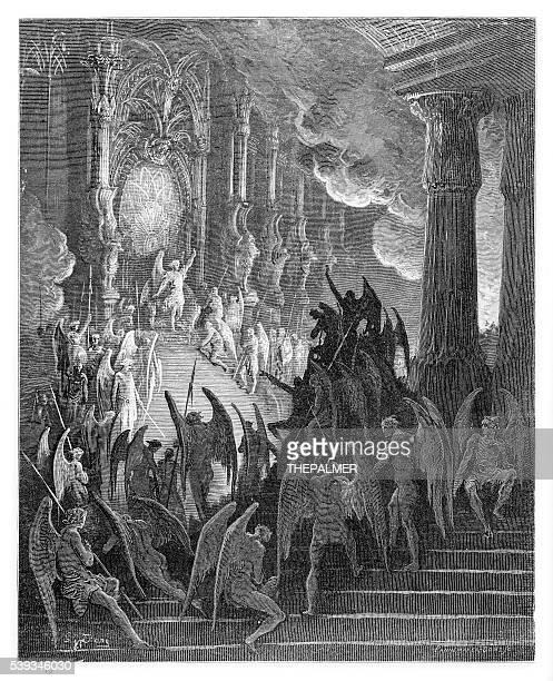 satan in council engraving 1885 - john milton stock illustrations, clip art, cartoons, & icons