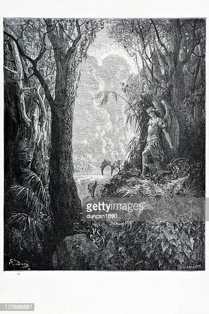 satan in paradise - biblical event stock illustrations