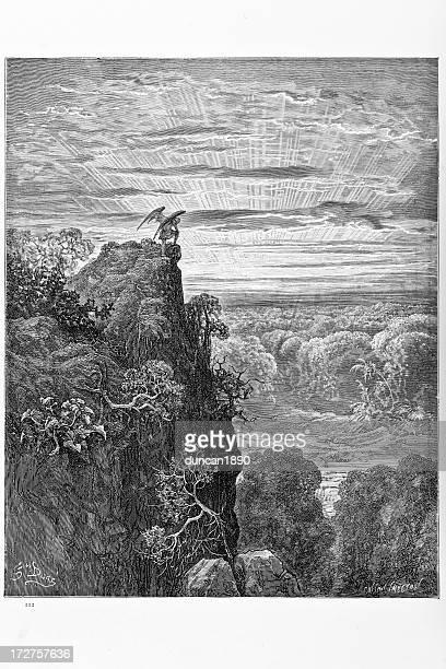 satan overlooking paradise - biblical event stock illustrations