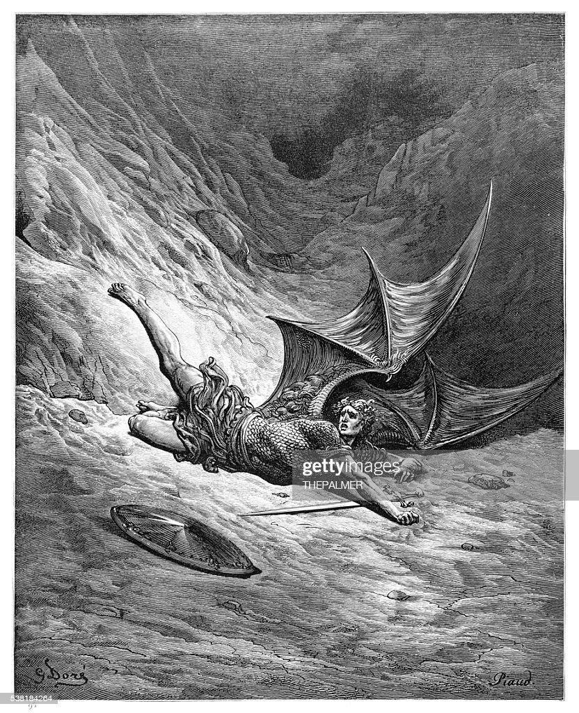 Satan smitten by Michael engraving : stock illustration
