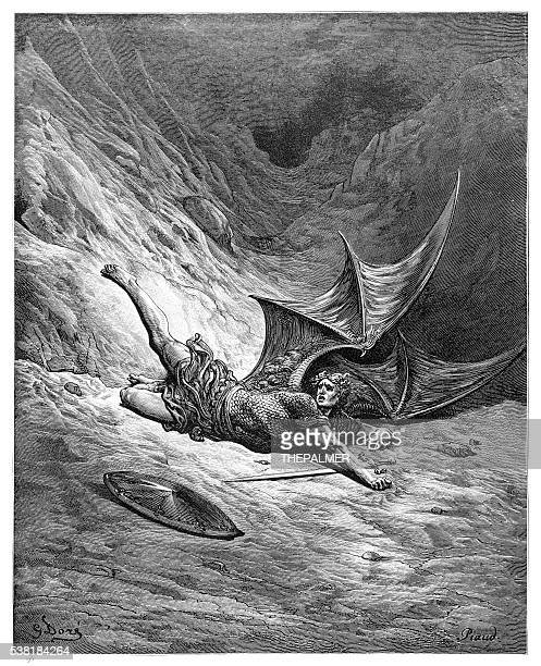 satan smitten by michael engraving - christianity stock illustrations