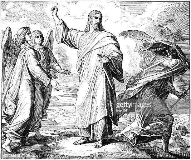 satan tempts jesus - temptation stock illustrations