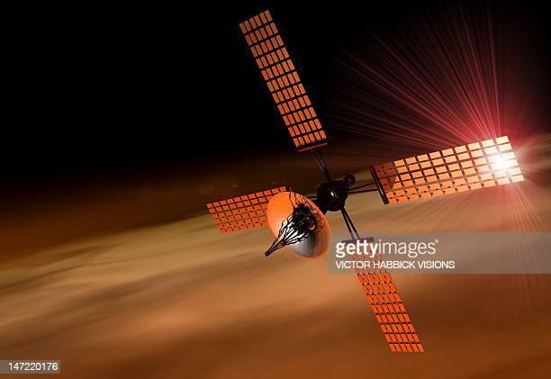 Satellite orbiting Mars, artwork