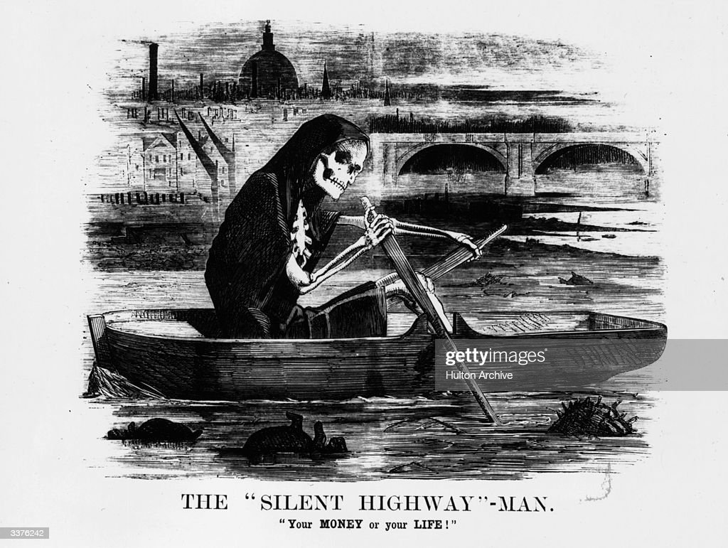 A satirical cartoon from Punch magazine showing a skeleton rowing along the River Thames.