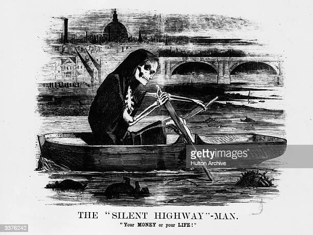 A satirical cartoon from Punch magazine showing a skeleton rowing along the River Thames