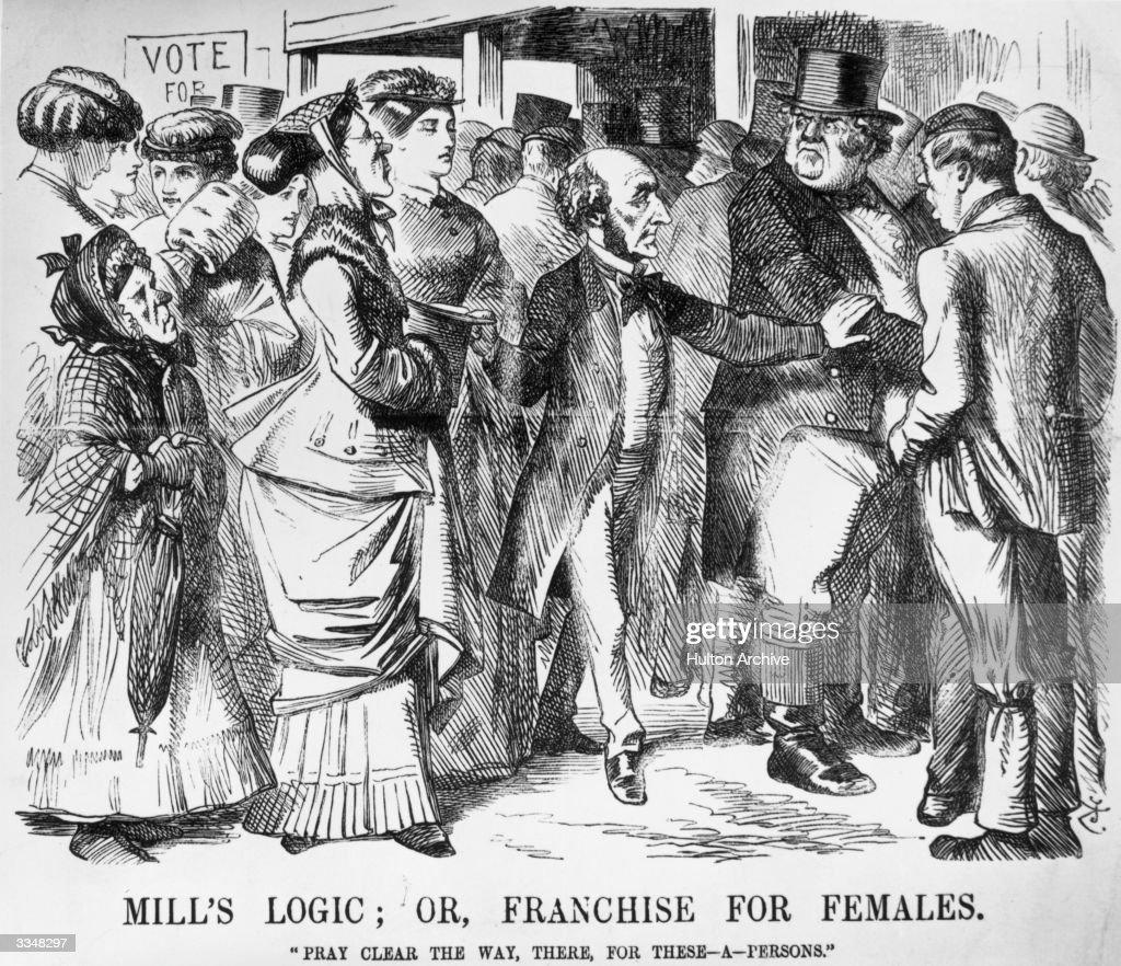 A satirical cartoon from the magazine 'Punch' in 1867 showing the philosopher John Stuart Mill advocating female suffrage.