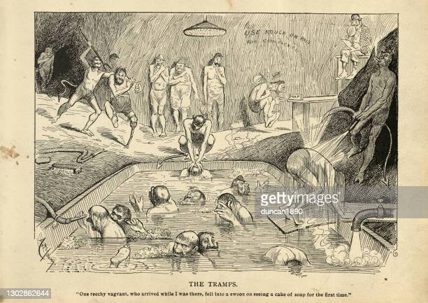 satirical victorian cartoon on hell. the tramps - cartoon hobo stock illustrations