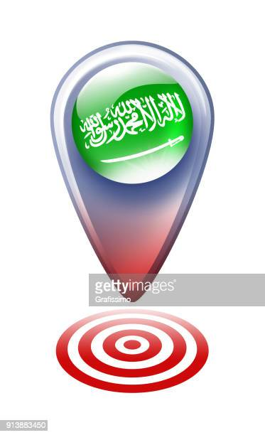 saudi arabia button map pointer with flag isolated on white - arabic script stock illustrations, clip art, cartoons, & icons