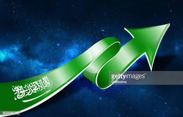 saudi arabia flag with arrow upwards - arabic script stock illustrations, clip art, cartoons, & icons