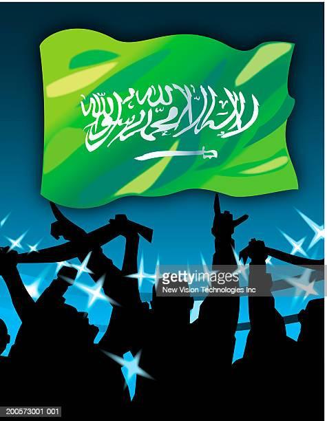 saudi arabian flag above cheering fans - arabic script stock illustrations, clip art, cartoons, & icons
