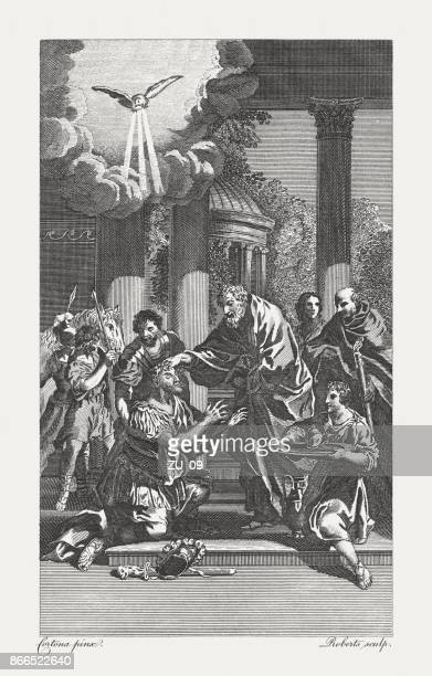 saul restored to sight (acts 9), copperplate engraving, published 1774 - paul the apostle stock illustrations