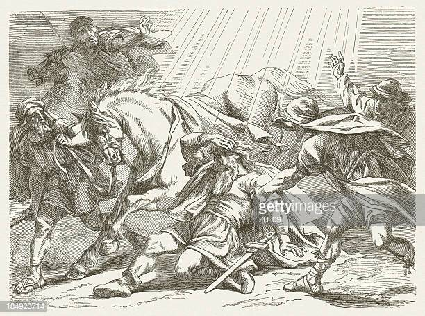 saul's conversion (acts 9), wood engraving, published in 1877 - new testament stock illustrations