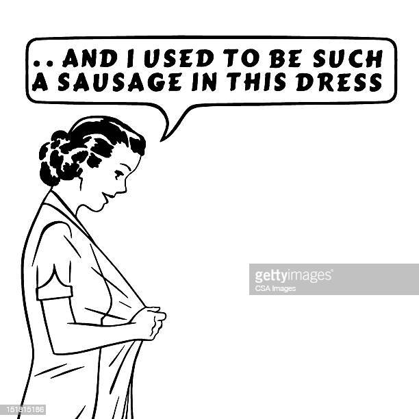 sausage dress woman - body conscious stock illustrations, clip art, cartoons, & icons
