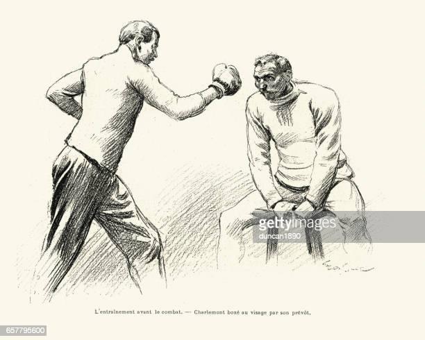 Savate figher Charles Charlemont training, 1899