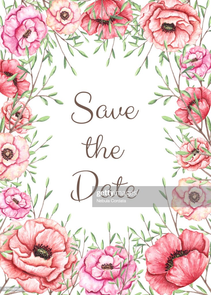 Save The Date Card Template With Watercolor Poppy And Leaves Stock ...