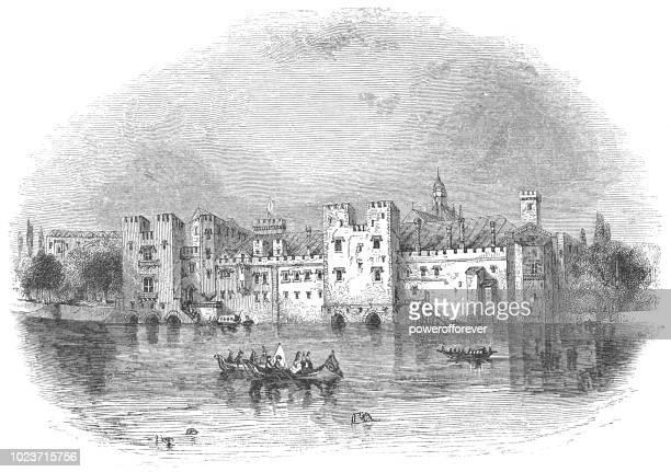 savoy palace in london, england - circa 14th century stock illustrations