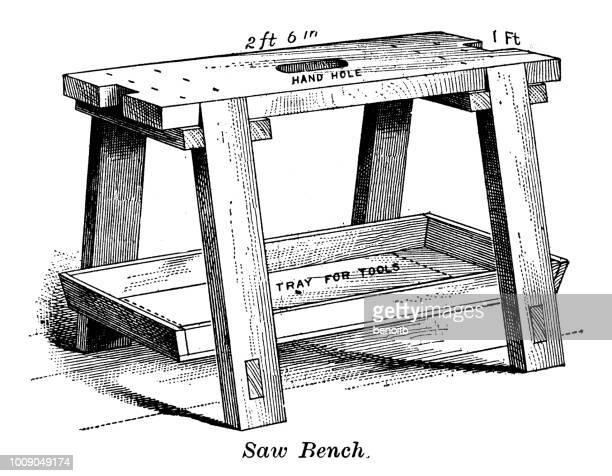 saw bench - carpentry stock illustrations