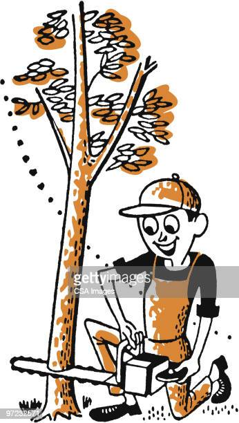 sawing down a tree - power tool stock illustrations, clip art, cartoons, & icons
