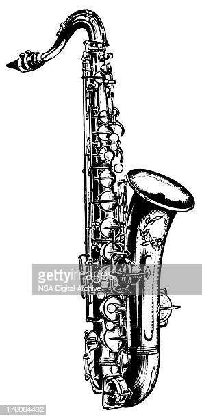 saxophone | antique musical illustrations - saxaphone stock illustrations, clip art, cartoons, & icons