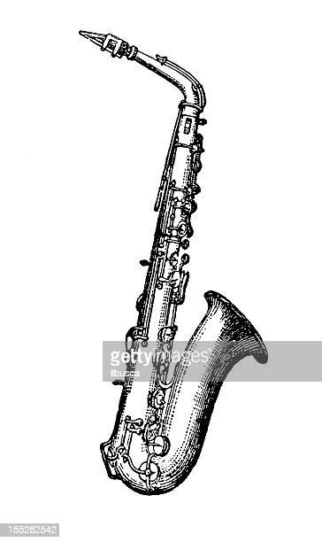 saxophone - saxaphone stock illustrations, clip art, cartoons, & icons