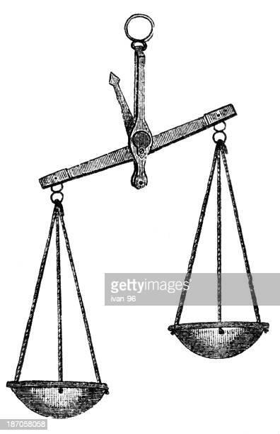 ilustraciones, imágenes clip art, dibujos animados e iconos de stock de escalas - balanzas de la justicia