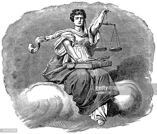 scales of justice - etching stock illustrations