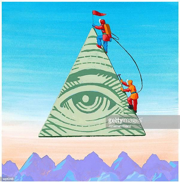 scaling the financial pyramid - crag stock illustrations, clip art, cartoons, & icons