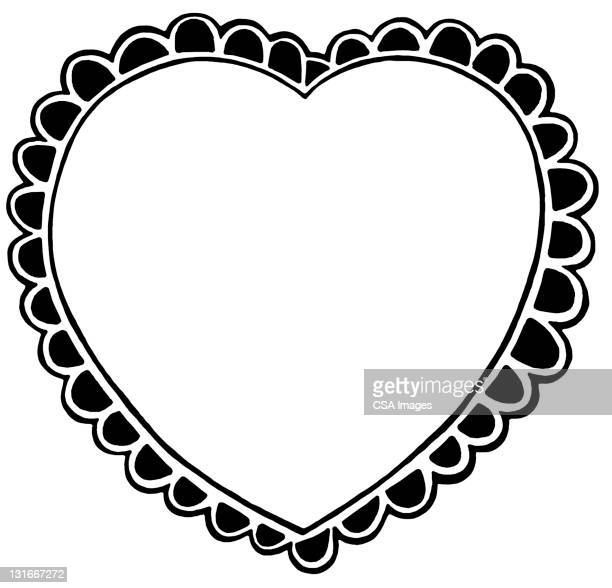 scalloped heart - design element stock illustrations