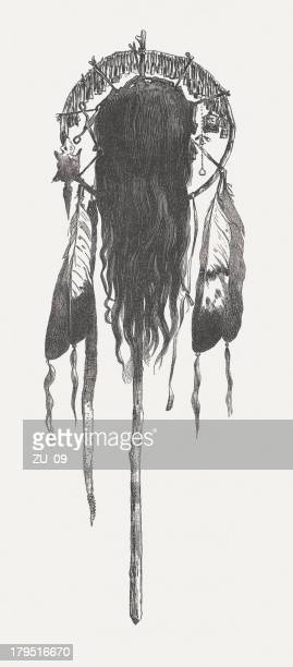 scalp by the dakota indians, wood engraving, published in 1882 - human scalp stock illustrations