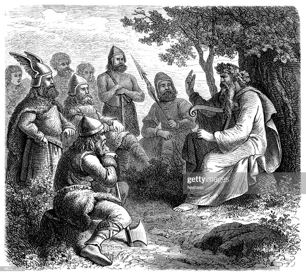 Scandinavian skald in the middle ages : stock illustration
