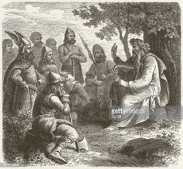 Scandinavian skald in the middle ages, wood engraving, published 1881