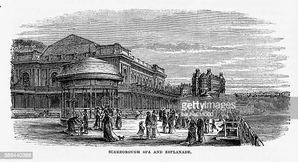 scarborough spa and esplanade in yorkshire, england victorian engraving, 1840 - promenade stock illustrations, clip art, cartoons, & icons