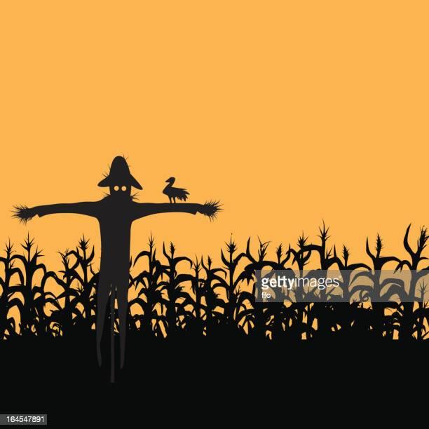 scarecrow - corn stock illustrations, clip art, cartoons, & icons