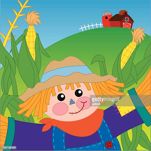 scarecrow watching over a cornfield - cornmeal stock illustrations, clip art, cartoons, & icons