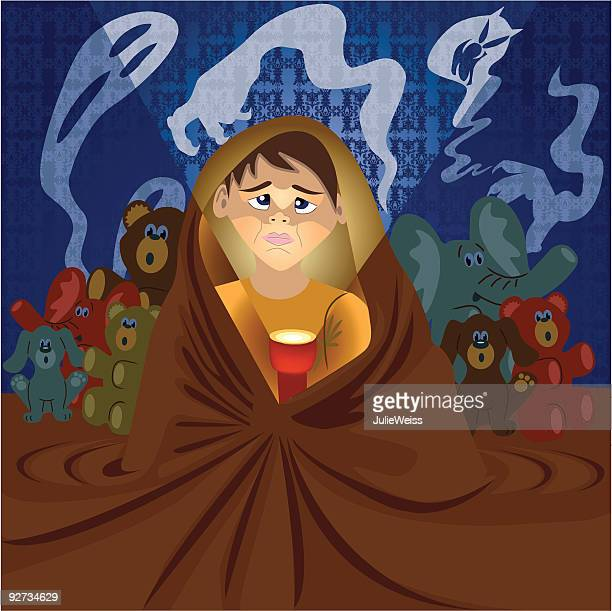 scared of the dark - phobia stock illustrations, clip art, cartoons, & icons