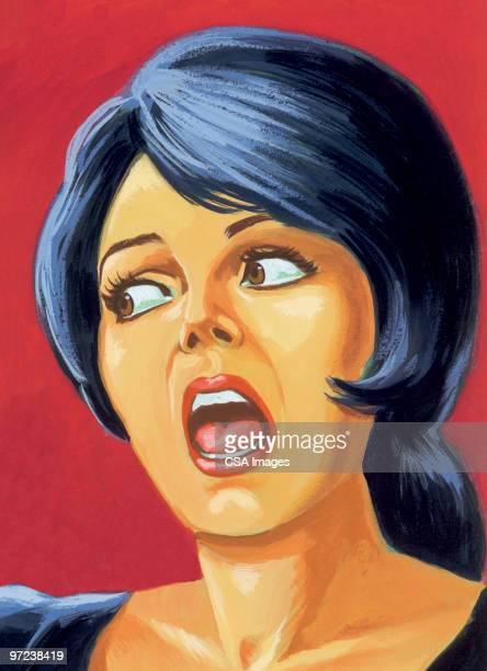 scared woman - gasping stock illustrations, clip art, cartoons, & icons