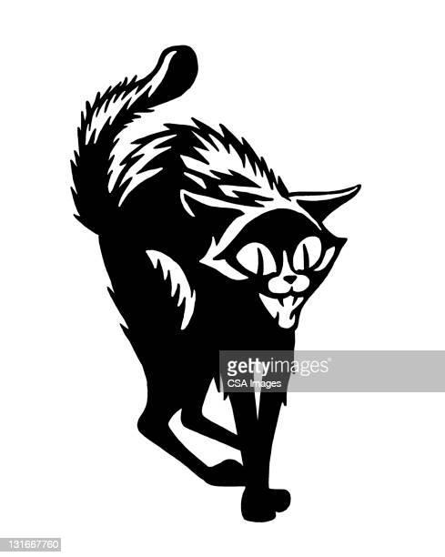 illustrations, cliparts, dessins animés et icônes de scary black cat - chat noir