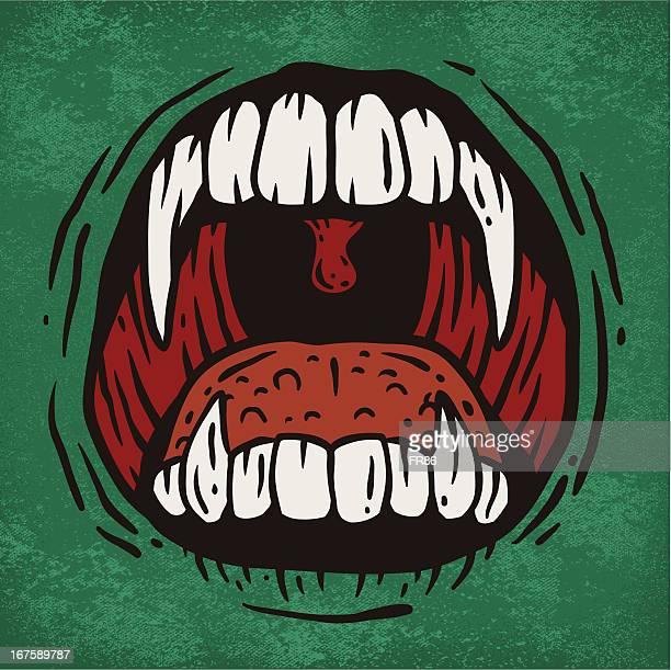 ilustraciones, imágenes clip art, dibujos animados e iconos de stock de scary la boca - vampiro