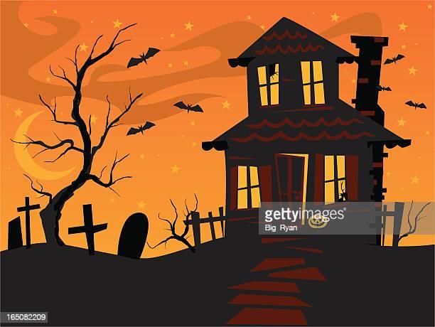 scary orange house