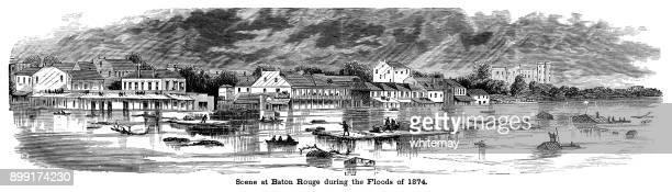 ilustraciones, imágenes clip art, dibujos animados e iconos de stock de escena en baton rouge, louisiana, durante las inundaciones de 1874 - 1874