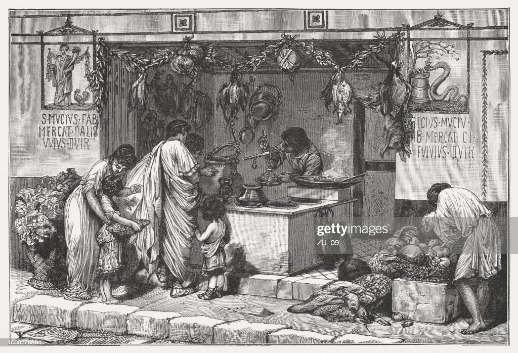 Scene from Ancient Rome: Delicatessen business with food, published c.1895 : stock illustration