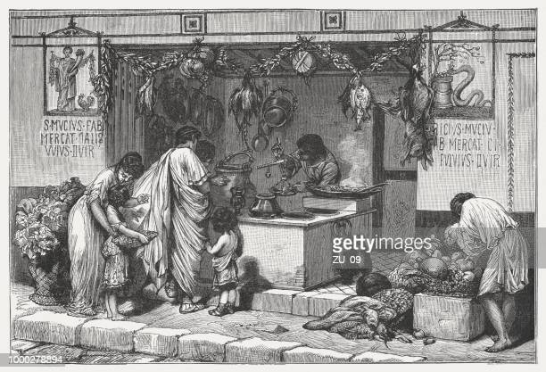 scene from ancient rome: delicatessen business with food, published c.1895 - ancient stock illustrations