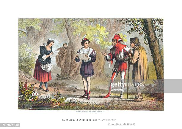 scene from 'as you like it' act 3 scene 2 - william shakespeare stock illustrations, clip art, cartoons, & icons