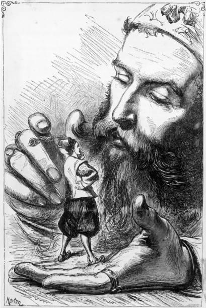 Scene from Gulliver's Travels, the satirical novel by Jonathan Swift.
