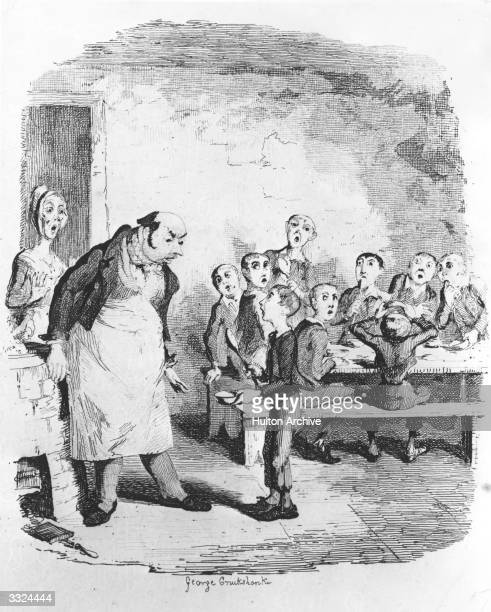 Scene from Oliver Twist by Charles Dickens. Oliver asks for more food to the horror of the other boys. Oliver Twist - pub. 1838 Illustration by...